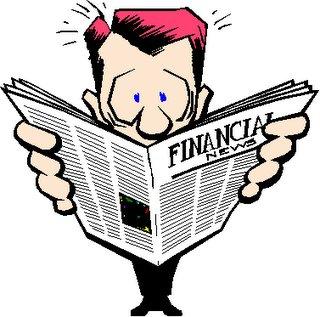 dibujo de un hombre leyendo el diario financial news