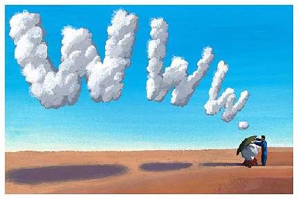 un hombre dibuja sobre el cielo las iniciales de world wide web