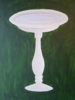 Painting of bird bath without birds yet