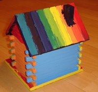Rainbow coloured bird house back
