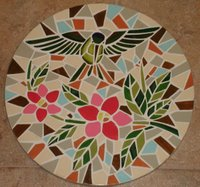 Hummingbird garden mosaic stepping stone - 1 of series of 4