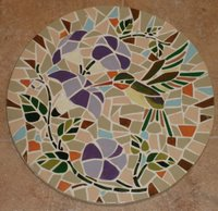 Hummingbird garden mosaic stepping stone - 3 of series of 4