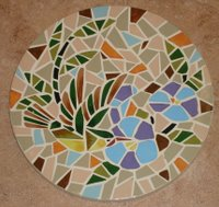 Hummingbird garden mosaic stepping stone - 4 of series of 4