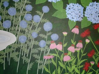 Garden painting with coneflower complete with petals and globe thistle in bloom