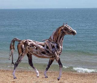 Horse on beach sculpture by Heather Jansch