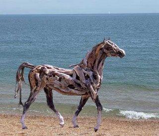 Horse on beach sculpture by Heather Jansch