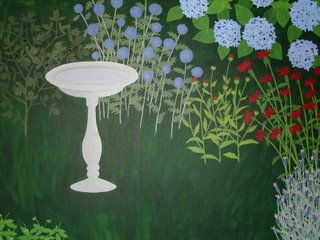 garden painting with coneflower stems (no petals yet)