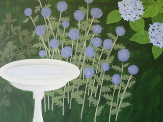 Closeup of garden painting showing globe thistle in bud stage