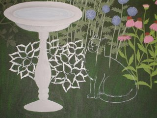 garden painting with outlines of cat and Patriot Hosta