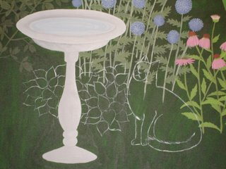 garden painting with outlines of cat and hosta