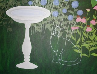 garden painting with outline of cat