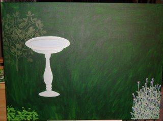 Gardeng painting in progress, with bird bath and three plants so far