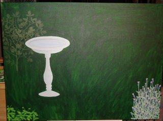 Gardeng painting in progress, with bird bath and three plants so far