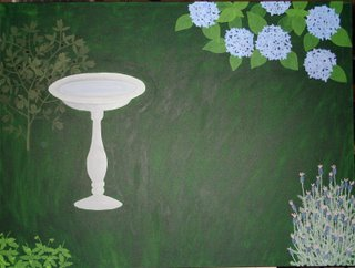 garden painting with hydrangea bush