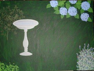 garden painting with hydrangea bush