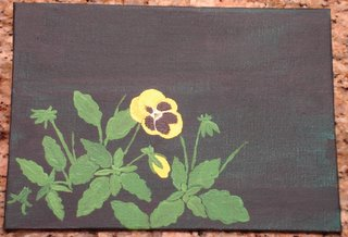 Small pansy painting in progress