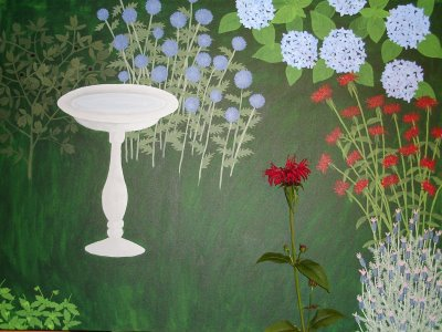garden painting with monarda didyma (bee balm)