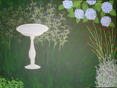 garden painting with globe thistle foliage and monarda stems added