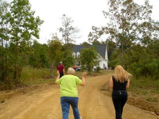 Walking up the long driveway to the new house