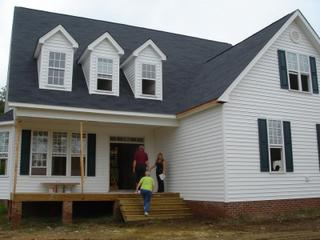 The front porch of the new house