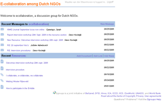 The 'inside' of the D-group: E-collaboration among Dutch NGO's