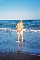 man wading
