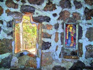 rock wall with windows