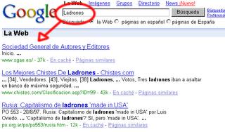 Búsqueda en Google de la palabra ladrones y sale como primera opción SGAE
