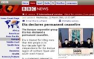 Página de la BBC anunciando la tregua de ETA