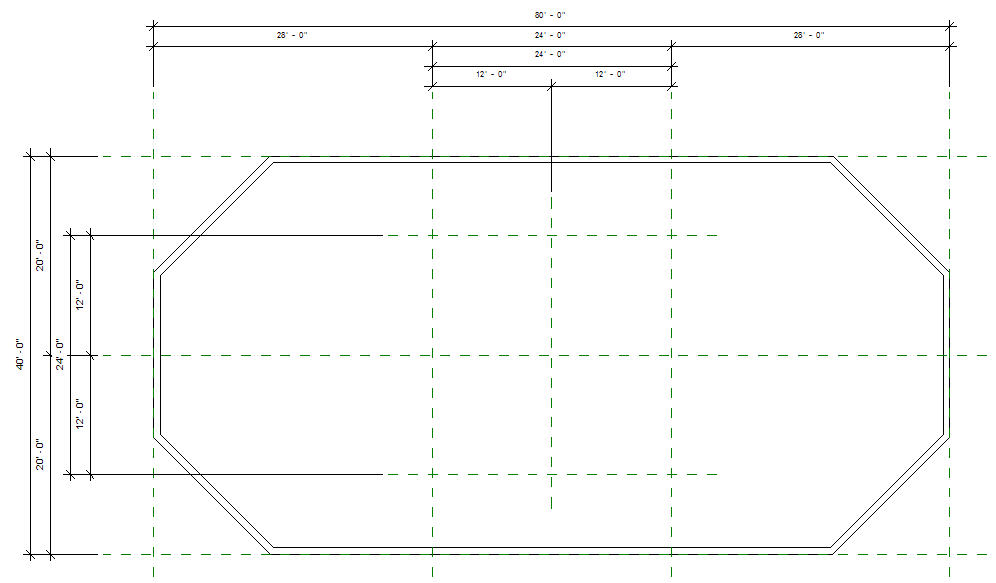 Revit oped a roof massing an octagonal blend for Octagon shape house plans