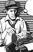 Dibujo de un periodista trabajando en una maquina de escribir