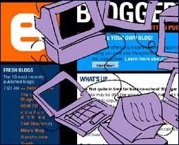 Dibujo de la pagina principal de blogger y un ordenador