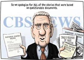 Caricatura del presentador Dan Rather