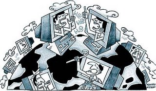 Dibujo de personas dentro de ordenadores discutiendo alrededor del mundo