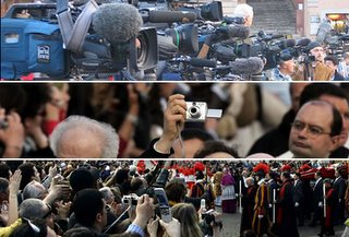 Camaras de televisión, personas con cámaras de fotos