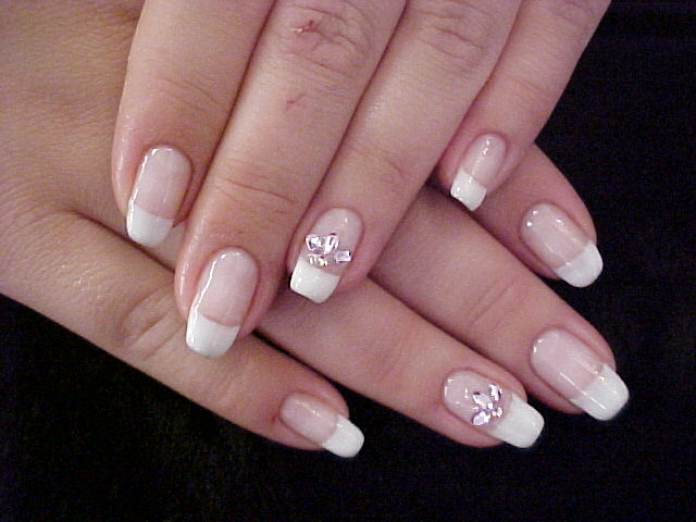 Classic French Manicure With Large Rhinestone Accent