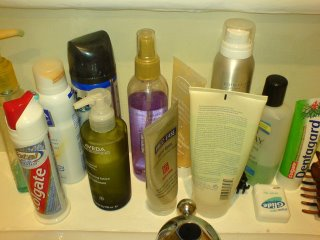 All the toiletries on my vanity