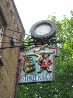 Pub sign for The Three Kings: Henry the Eighth, King Kong and Elvis