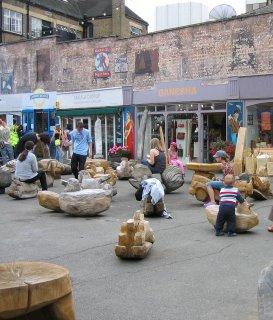 Low-rent shops at Gabriel's Wharf, London