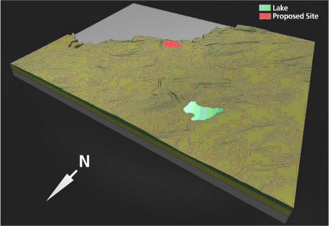 Terrain Model - slab contours (shaded view)