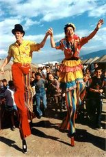 Stiltwalking in the refugee camp