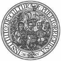 Sello del Instituto de Cultura Puertorriqueña, representada por españoles, indios y africanos.  Si las cosas siguen como van, un día de estos el sello quedará vacío.  Noten la presencia del Cordero al pie del sello.