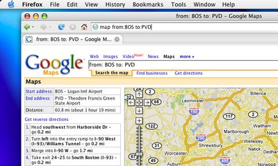 Google Maps directions from Boston to Providence using a Firefox Smart Keyword, 'map'.