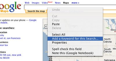 Browser  menu that appears when right-clicking in a search box