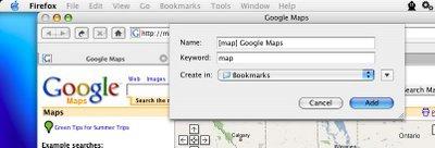 Dialog box for keyword addition in Firefox