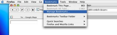Menu item under the 'Bookmarks' toolbar in Firefox