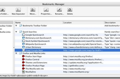 Contents of the 'Bookmarks' folder in Firefox