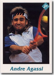 Andre Agassi in his early 20s as a long-haired rebel