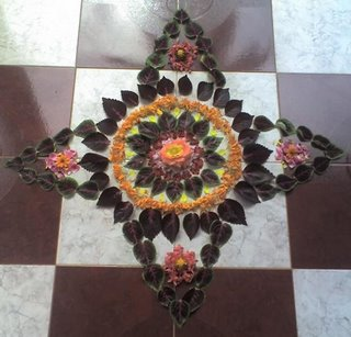 Pookalam done at our house for Onam