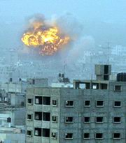 An explosion in Gaza, an Israeli-controlled part of the Palestinian Authority